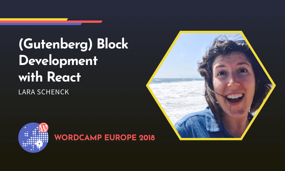 Image of Lara in a graphic for WordCamp Europe